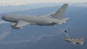 Boeing KC-46 boom refuels F-16C boeing.com