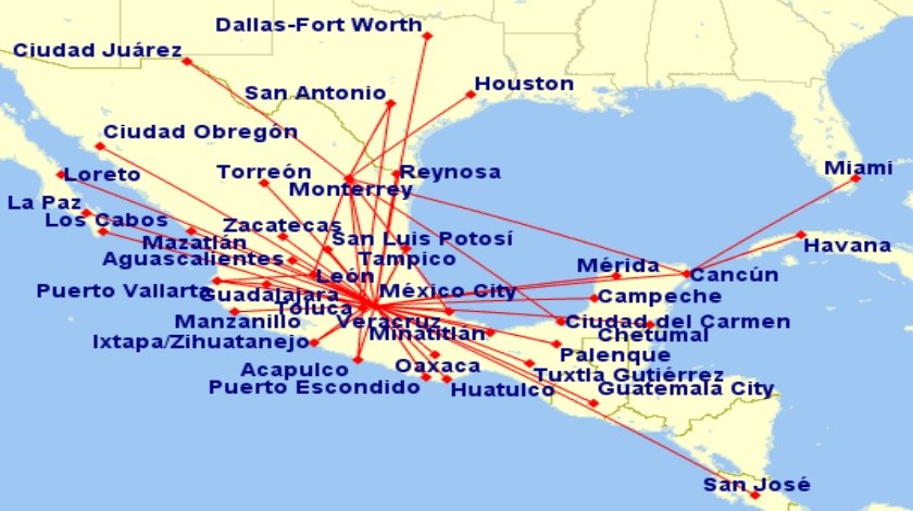 Interjet-Mexico-route-map
