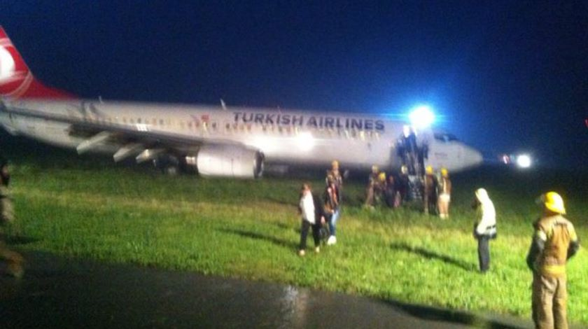 Turkish airlines off runway priscine airport kosovo