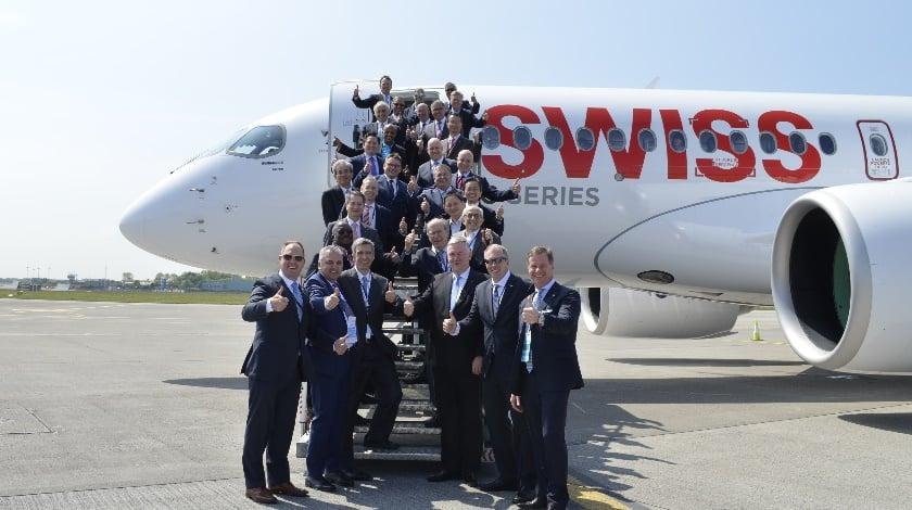 Bombardier C Series Historic First Passenger Flight from Dublin to Zurich